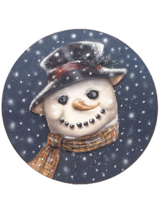 Snowman Disk  - Boardwalk Originals Christmas Decoration & Display