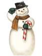 Snowman With Candy Cane - A Boardwalk Originals Holiday Display
