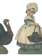 Pilgrim Girl & Turkey - Boardwalk Originals Thanksgiving Decoration & Display