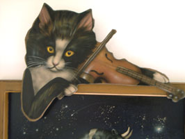 Cat With Fiddle - Boardwalk Originals Storybook Decoration & Display