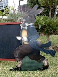Rabbit With Tea Pot - Boardwalk Originals Rabbit Decoration & Display