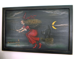 Witch With Cat Painting - Boardwalk Originals Halloween Painting